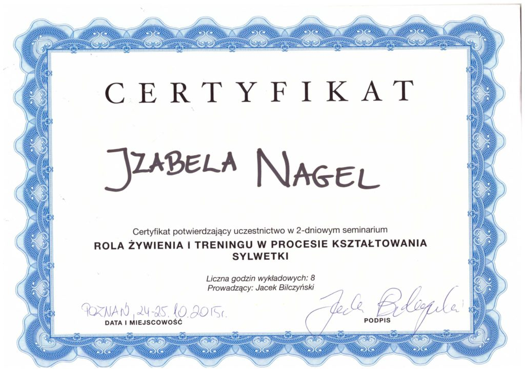 Certyfkat Trener Personalny Wroclaw Personal Trainer